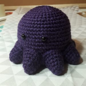 crocheted purple octopus